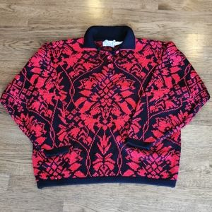 Vintage Floral Collared Sweater Red Black Silver